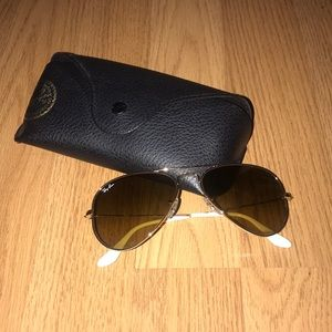 Ray-Ban brown and white aviator sunglasses